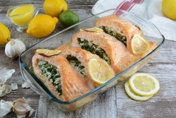 Keto Diet Baked Salmon Stuffed with Spinach and Cheese