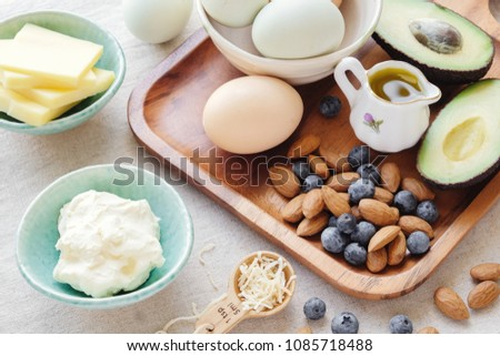 Keto, ketogenic diet,  low carb,  high fat healthy weight loss food #1085718488