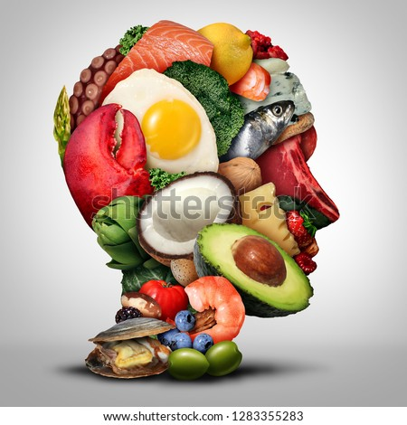 Keto nutrition lifestyle and ketogenic diet low carb and high fat food eating as fish nuts eggs meat avocado as a therapeutic meal shaped as a human head in a 3D illustration style.