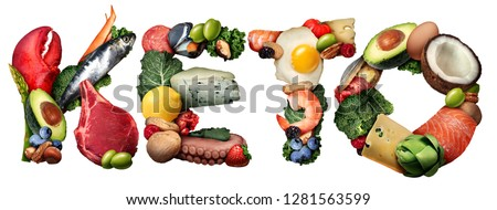 Keto or ketogenic food text diet as a low carb and high fat food eating lifestyle as fish nuts eggs meat avocados as a therapeutic meal isolated on a white background with 3D illustration elements.