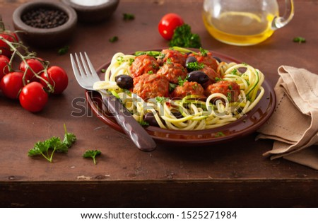 keto paleo zoodles zucchini noodles with meatballs and olives #1525271984