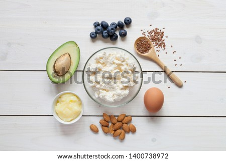 Ketogenic diet. Healthy fats: avocado, nuts, eggs, cream, butter. Top view. #1400738972