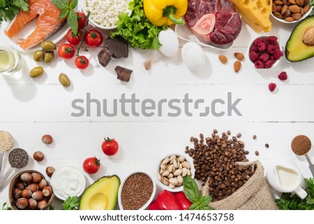 Ketogenic low carbs diet - food selection on white background. Balanced healthy organic ingredients of high content of fats for the heart and blood vessels. Meat, fish and vegetables. Copyspace. #1474653758