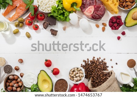 Ketogenic low carbs diet - food selection on white background. Balanced healthy organic ingredients of high content of fats for the heart and blood vessels. Meat, fish and vegetables. Copyspace. #1474653767