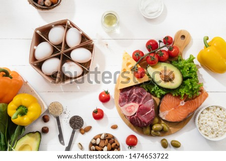 Ketogenic low carbs diet - food selection on white wooden background. Balanced healthy organic ingredients of high content of fats. Nutrition for the heart and blood vessels. Meat, fish and vegetables #1474653722