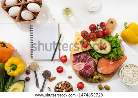 Ketogenic low carbs diet - food selection on white wooden background. Balanced healthy organic ingredients of high content of fats. Nutrition for the heart and blood vessels. Meat, fish and vegetables #1474653728