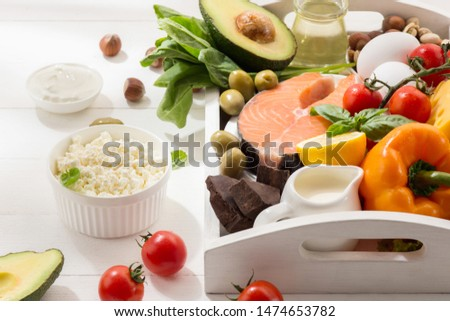 Ketogenic low carbs diet - food selection on white wooden background. Balanced healthy organic ingredients of high content of fats. Nutrition for the heart and blood vessels. Meat, fish and vegetables #1474653782
