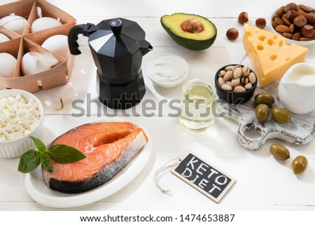 Ketogenic low carbs diet - food selection on white wooden background. Balanced healthy organic ingredients of high content of fats. Nutrition for the heart and blood vessels. Meat, fish and vegetables #1474653887