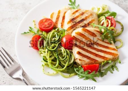 ketogenic paleo diet lunch. halloumi cheese, spiralized zucchini with arugula pesto and tomatoes #1565221147