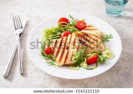 ketogenic paleo diet lunch. halloumi cheese, spiralized zucchini with arugula pesto and tomatoes #1565221150