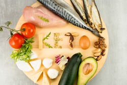 Ketone diet foods on a gray background. The word keto from ketogenic diet foods.