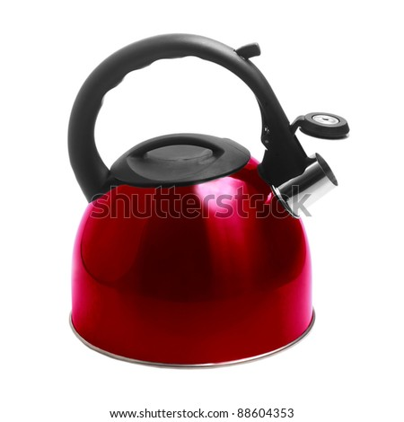 kettle apliance kitchen pot stainless red isolated on white background with clipping path