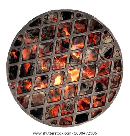Kettle Grill Pit With Flaming Charcoal. Top View Of BBQ Hot Kettle Grill With Cast Iron Grid, Isolated Background, Overhead View. Barbecue Kettle Grill On Summer Backyard Ready Grilling Cookout Food.