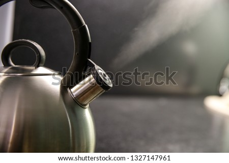 kettle with boiling water. whistle on a boiling kettle. a jet of steam from the boiling kettle. boiling stainless kettle whistles