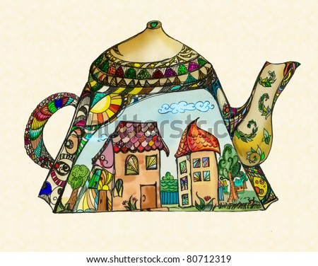 Kettle with pictures on it. Houses, trees - sunny landscape