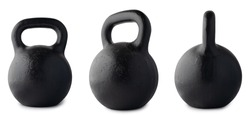Kettlebell set view USSR cast iron black isolated on white background. Weight 2 pood, 72 pound, 32 kilogram.