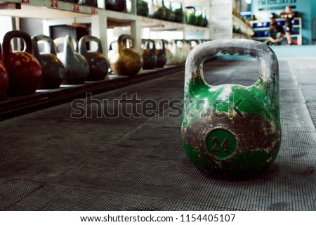 kettlebells on gym. Close up. Work out with the kettlebells