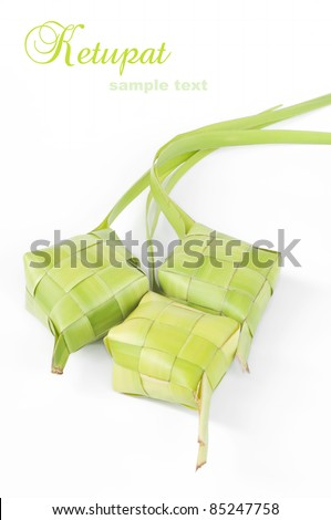 Ketupat on white background. Ketupat is traditional food in Malaysia for celebration