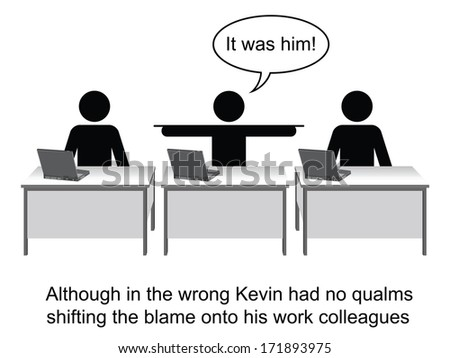 Kevin took no responsibility at work cartoon isolated on white background