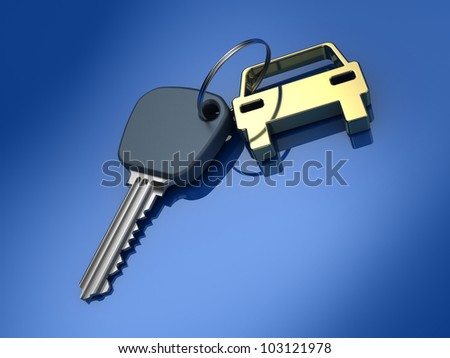 Key and auto symbol. 3d illustration. - stock photo