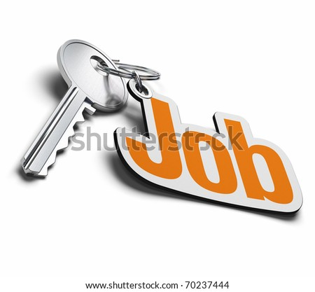 key and job keyring over a white background, the word job is written in orange
