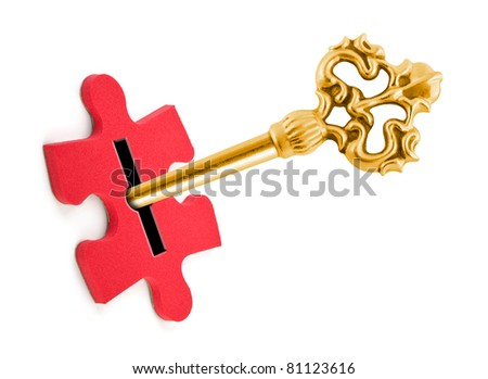 Key and puzzle isolated on white background