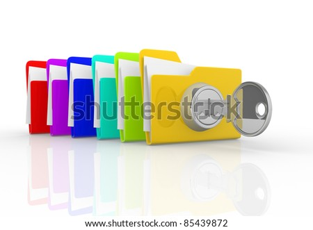Key and the stack of folders. This is a 3d render illustration