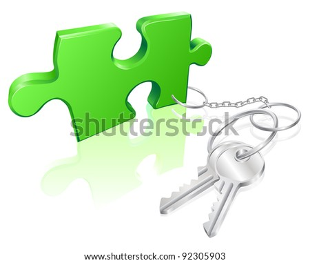 Key attached to jigsaw piece. Concept for solution to a problem