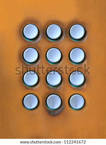 key board of number press button on public telephone free space for use as multipurpose on colorful texture
