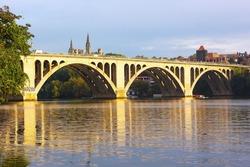 Key Bridge at sunrise with Georgetown University in sight, Washington DC. Francis Scott Key Bridge in Washington DC, USA