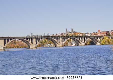 Key Bridge in Georgetown Washington DC over the Potomac River