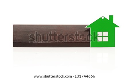 Key-chain shaped like a house with a blank wooden banner on a white background