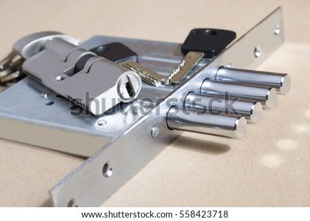Key cylinder, close up photo