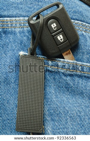 key for the car in his pocket jeans