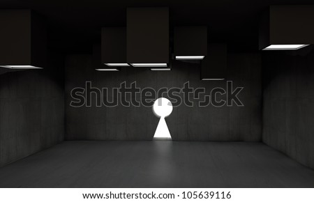 key gate in concrete structure - stock photo
