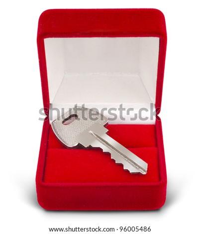 key gift box isolated on white