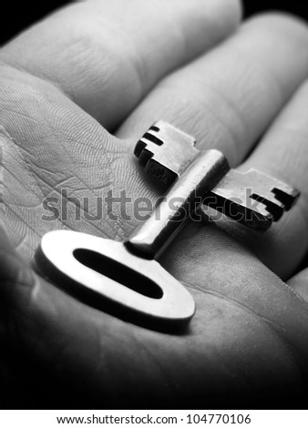 Key in arm. Macro image.