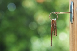 Key in door lock with blurry background,