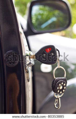 Key in the car door. closeup Useful as background for design-works.