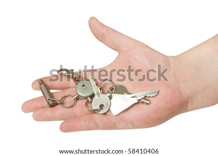 key in the hand isolated with clipping path