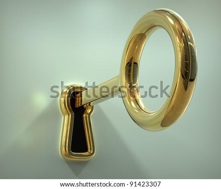 Key in the keyhole - 3d illustration