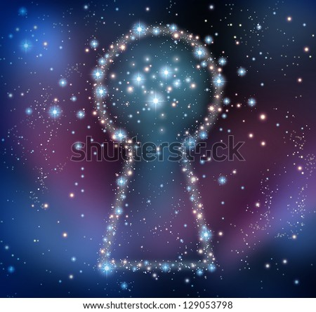 Key inspiration and finding answers or solutions in a brainstorm concept as a night sky with a group of stars and planets as a bright space constellation in the shape of a keyhole.