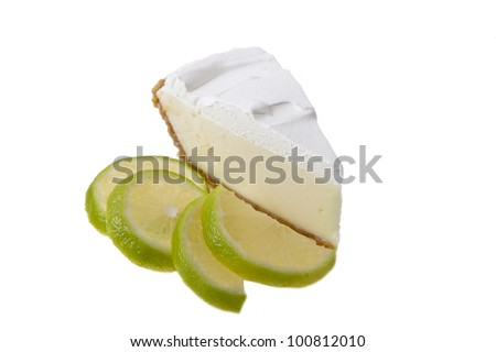 Key lime Pie with slices of lime