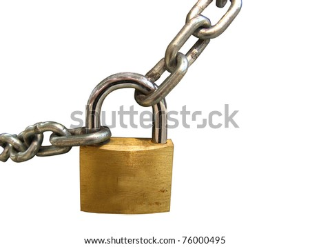 Key lock locked with a chain, clipping path