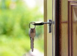 key lock with key on the door