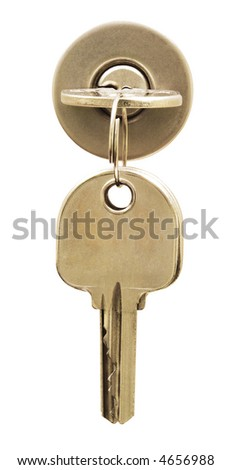 Key on lock isolated on white. Space on the other key for your text