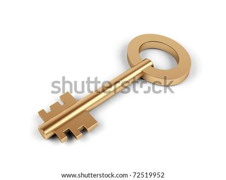 Key on white background. 3d image.