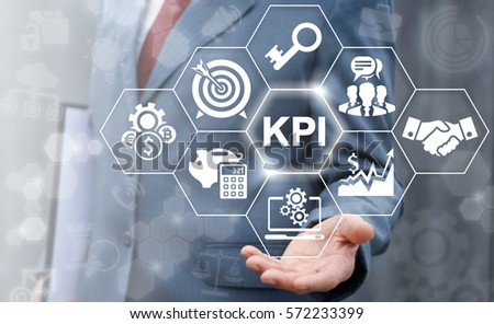 Key performance indicator business plan web computer concept. Businessman offer KPI success conception