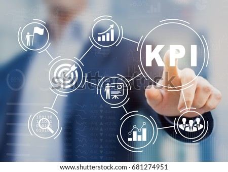 Key Performance Indicator (KPI) using Business Intelligence (BI) metrics to measure achievement versus planned target, person touching screen icon, success - Shutterstock ID 681274951