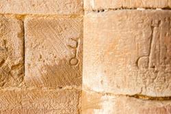 Key-shaped stonework symbol on the wall of the 12th century Cistercian monastery of Santa María de Moreruela. Zamora. Spain.